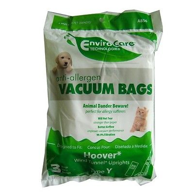 Hoover Style Y Cloth Vacuum Bags Type Vac HEPA Filtration Windtunnel T2 AH10040 [6 Bags] Cloth Hepa Filtration Vacuum Bags