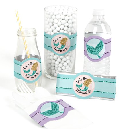 Mermaid Baby Shower (Let's Be Mermaids - DIY Baby Shower or Birthday Party Wrapper Favors - Set of)