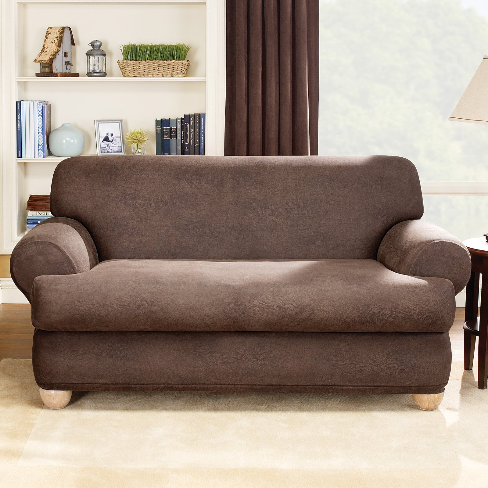 Sure Fit Stretch Leather 2 Piece T Cushion Sofa Slipcover Brown