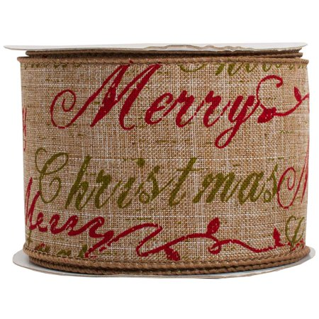 JAM Paper Wire Edged Christmas Ribbon, 2-1/2