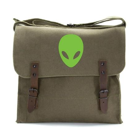 Sci-Fi Alien Head Army Heavyweight Canvas Medic Shoulder Bag in Olive & (Canvas Womens Briefcase)