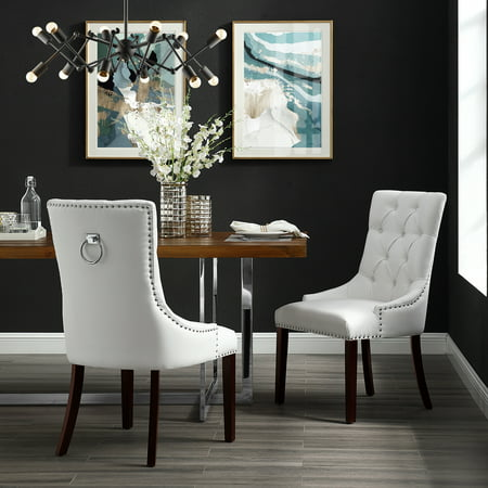 Tremendous Faith White Leather Pu Dining Chair Set Of 2 Tufted Ring Handle Chrome Nailhead Finish Pdpeps Interior Chair Design Pdpepsorg