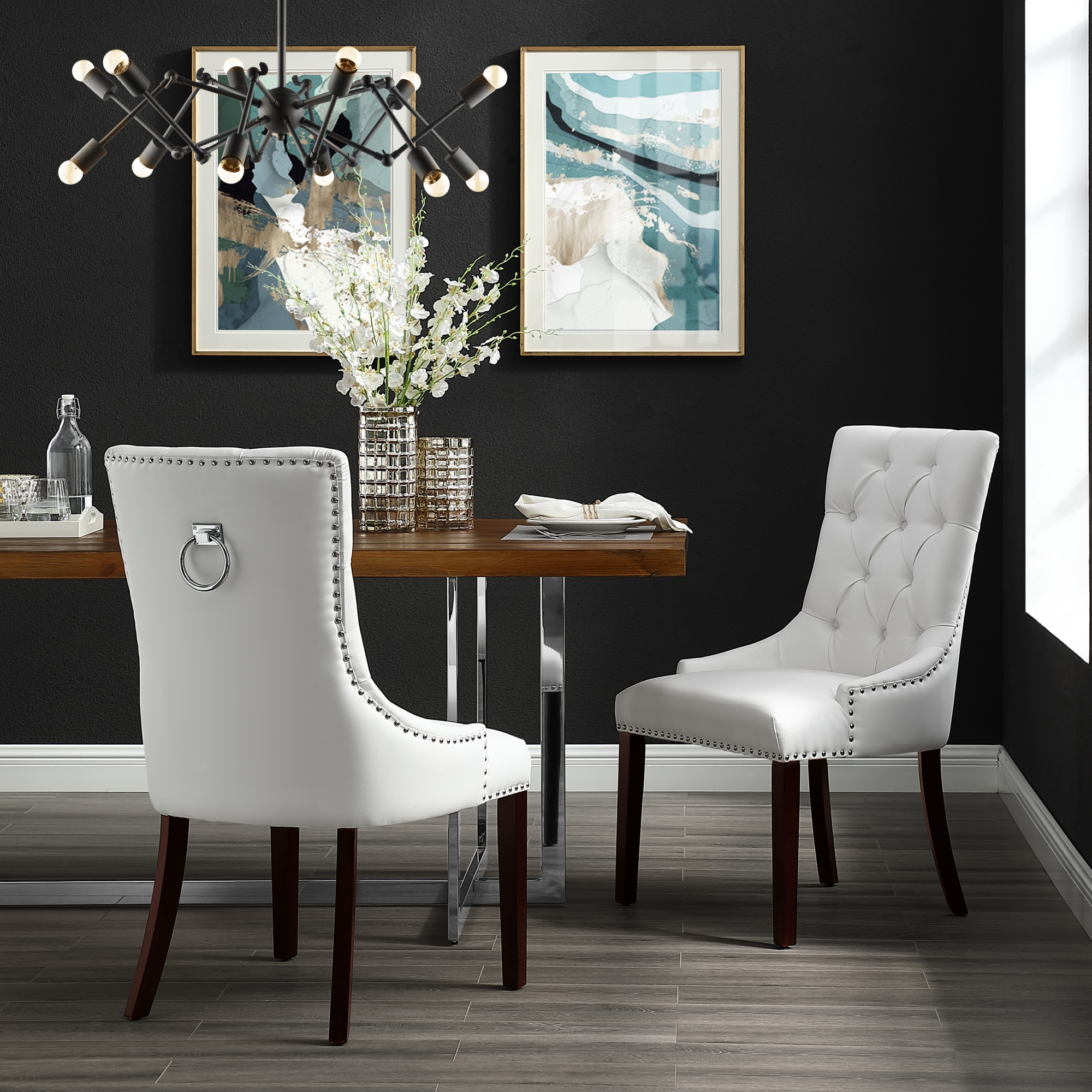 Exceptionnel Faith White Leather PU Dining Chair   Set Of 2   Tufted   Ring Handle    Chrome Nailhead Finish
