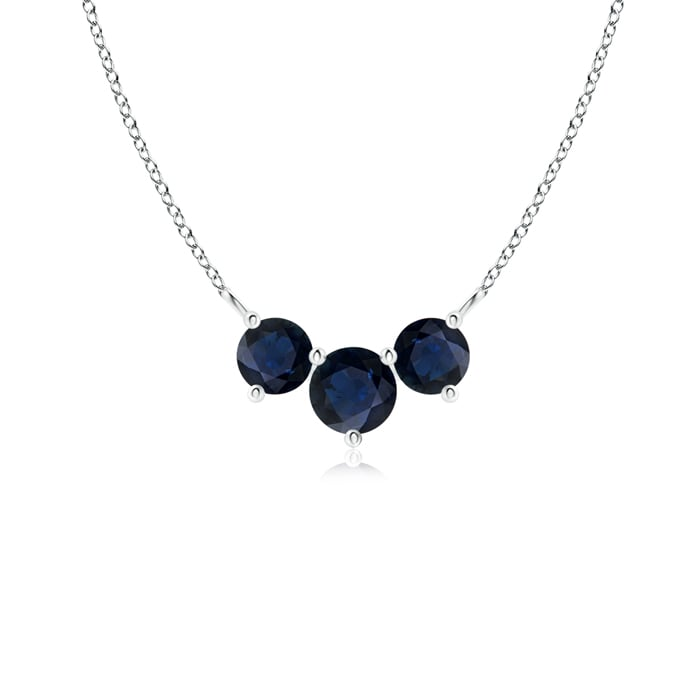 Classic Trio Sapphire Necklace Past Present Future in Platinum (4mm Blue Sapphire) by Angara.com