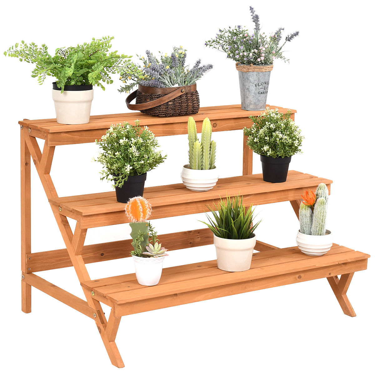 Costway 3 Tier Wood Plant Stand Flower Pot Holder Shelf Display Rack Stand Step Ladder Walmart Com Walmart Com