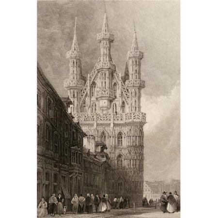 Posterazzi DPI1857558LARGE H-tel De Ville Louvain Belgium. Built 1448 Engraved by W. Wallis From A 19th Century by D. Roberts Poster Print, Large - 24 x 36 - image 1 of 1