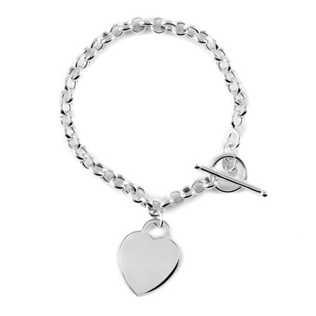 925 Sterling Silver Heart Charm Bracelet with Toggle Clasp Anniversary Jewelry for Women Graduation Gifts for Her Size 8