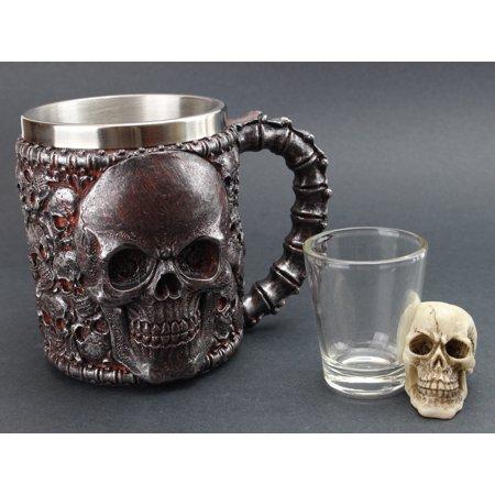 Gothic Tribal Skull Creepy Tankard Coffee Mug and Skull Shot Glass (G16637 + G16638)