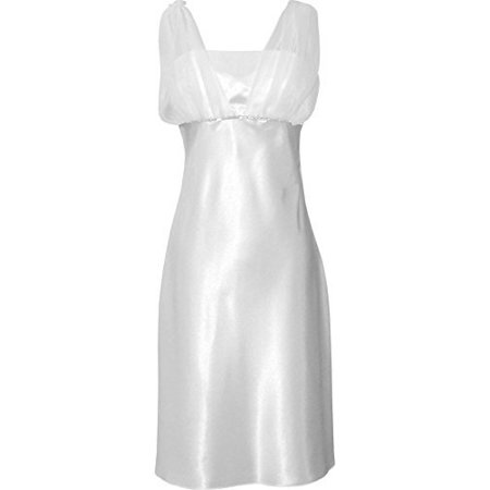 Satin Chiffon Prom Dress Holiday Formal Gown Bridesmaid Crystals  Knee-Length Junior Plus Size, XS, White
