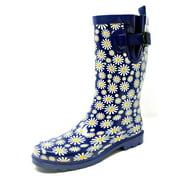 """Women Rubber Rain Boots - 11"""" Mid-Calf Waterproof Garden Boots, Daisies Print"""