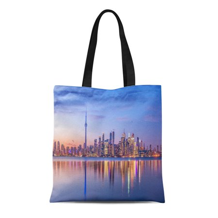 LADDKE Canvas Tote Bag Colorful Night Toronto Skyline Purple Light Ontario Canada Landscape Durable Reusable Shopping Shoulder Grocery Bag (Halloween Stores Ontario)