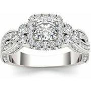 1-1/2 Carat T.W. Diamond Criss-Cross Shank Single Halo 14kt White Gold Engagement Ring