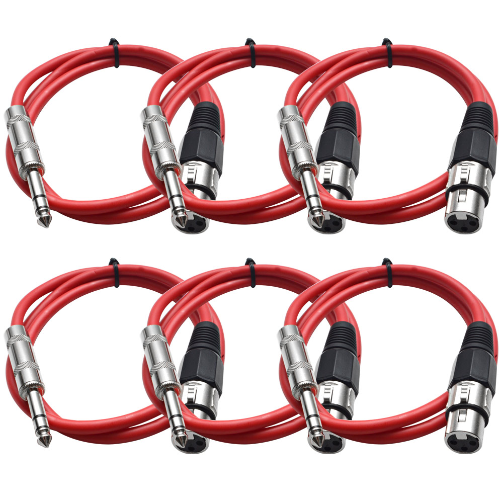 """Seismic Audio  Red 1/4"""" TRS to XLR Female 2' Patch Cable Red - SATRXL-F2Red6"""
