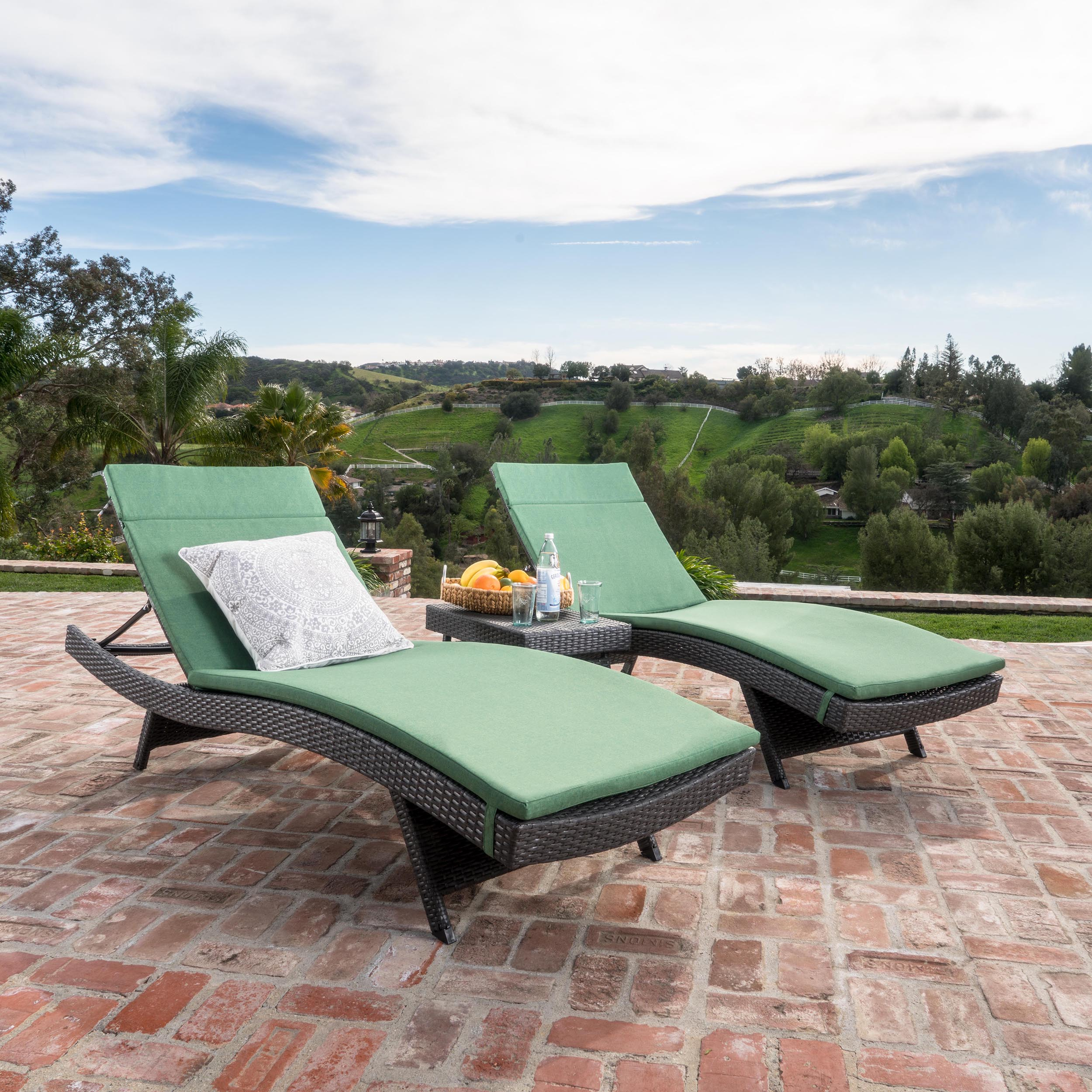 Savana 3-Piece Outdoor Wicker Lounge with Water Resistant Cushions and Coffee Table, Grey/ Jungle Green