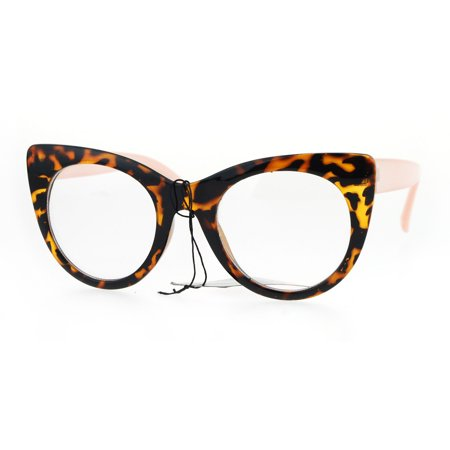 womens retro vintage style round thick plastic cat eye clear lens glasses tortoise (Cat Eye Glasses Round Face)