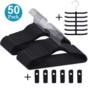 50 Pack Velvet Suit Clothes Hanger Rust-Proof with 6 Finger Clips,1 Tie Rack Ultra Thin,Black