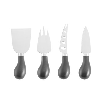 Farberware Set of 4 Black Handle Stainless Steel Cheese Knives