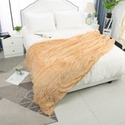 "Soft Decorative Long Shaggy Faux Fur Plush Twin Size Blanket,59"" x78"",Khaki"