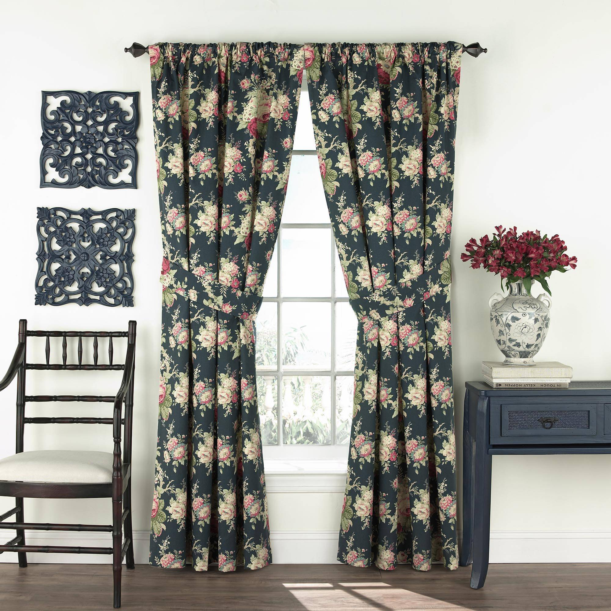 Waverly 100'' x 84'' Sanctuary Rose Floral Drapery Pair in Blue