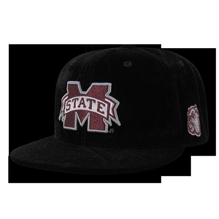 NCAA MSU Mississippi State U Bulldogs Velvet Snapback Baseball Caps Hats Black - Msu Bulldogs