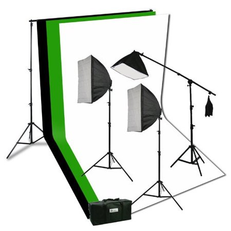 Photography Video Studio Portrait Softbox Continuous Photo Video Lighting Kit with Three Softbox,background stand, 10 x 10 Black White Green Muslin, and Carrying Case