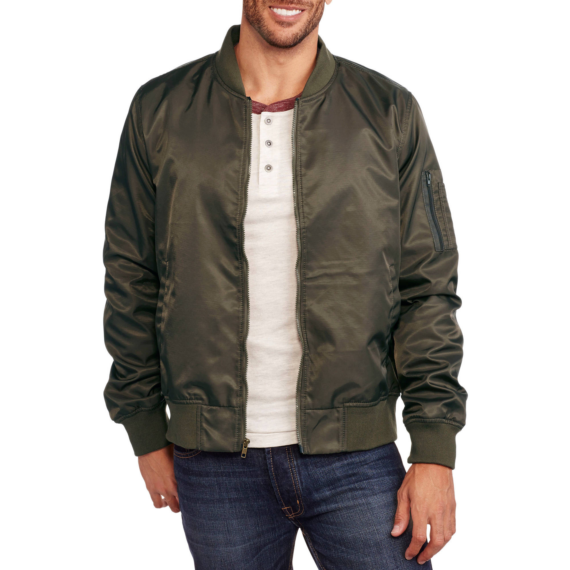Men's Nylon Bomber Jacket - Walmart.com
