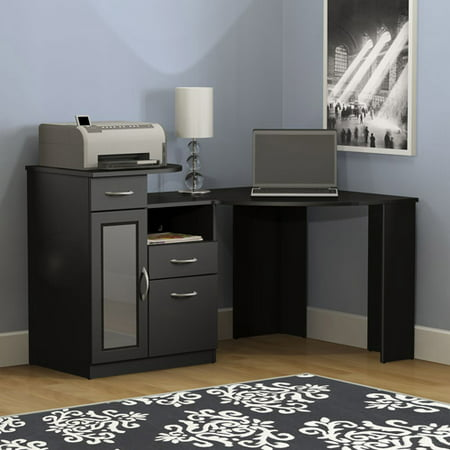Bush Furniture Vantage Corner Desk in Classic Black Mission 3 Light Deck