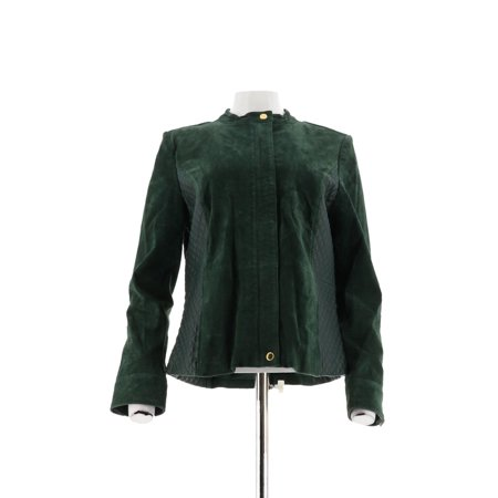 Isaac Mizrahi Suede Jacket Lamb Leather Quilteds A266338