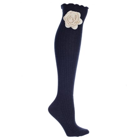 Black Ribbed Knee High Boot Socks With Cream Snap-On Rose ()