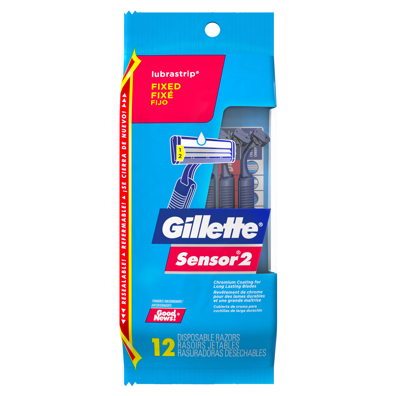 Gillette Sensor2 Men's Disposable Razors, 12 Count