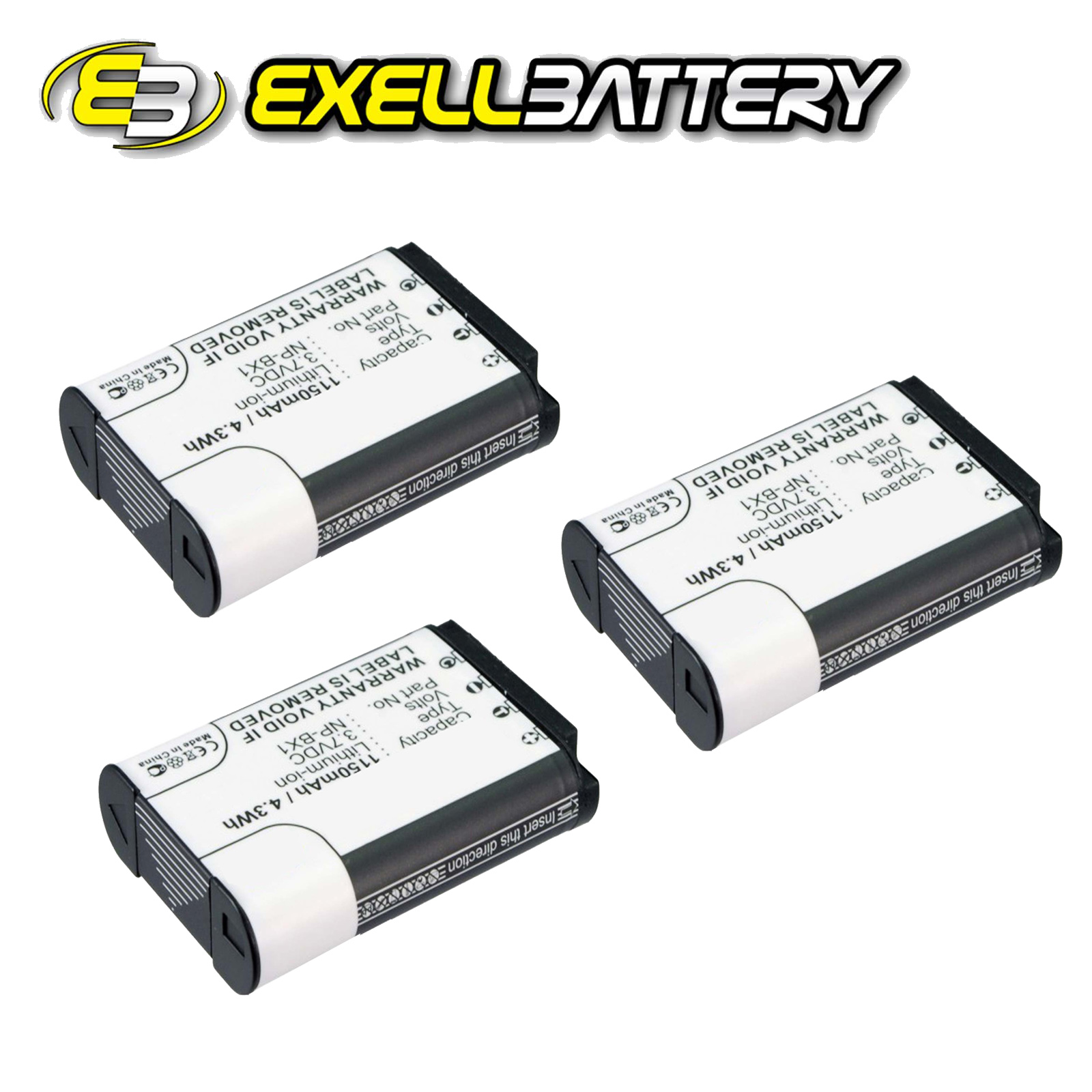 3x 3.7V 1150mAh Digital Camera Battery For Sony HD Flash Memory Action Camcorder