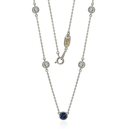 Suzy Levian Sapphire & Diamond Accent (1.50cttw) Sterling Silver 5 Stone Station