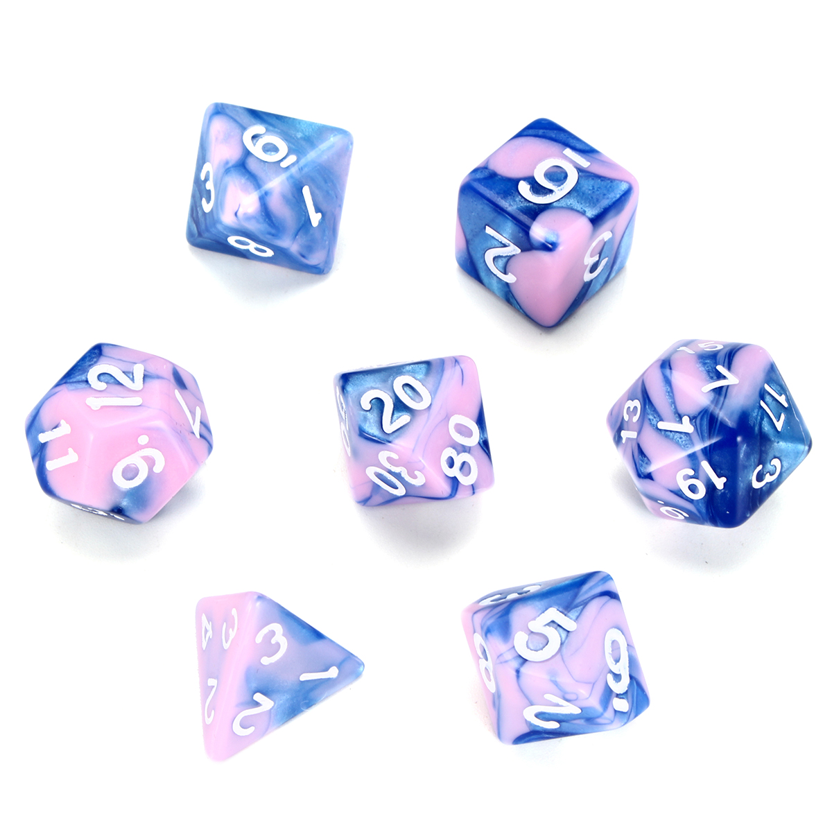 Moaere 7Pcs Two Colors Polyhedral Dice with Free Pouches for Dungeons and Dragons DND RPG MTG Table Games D4 D8 D10 D12 D20