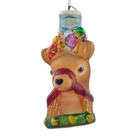 Cheery Reindeer Light cover Old World Christmas Glass Ornament