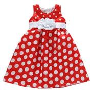 Little Girls Red White Polka Dot Pattern Satin Bow Flower Girl Dress 3T-7