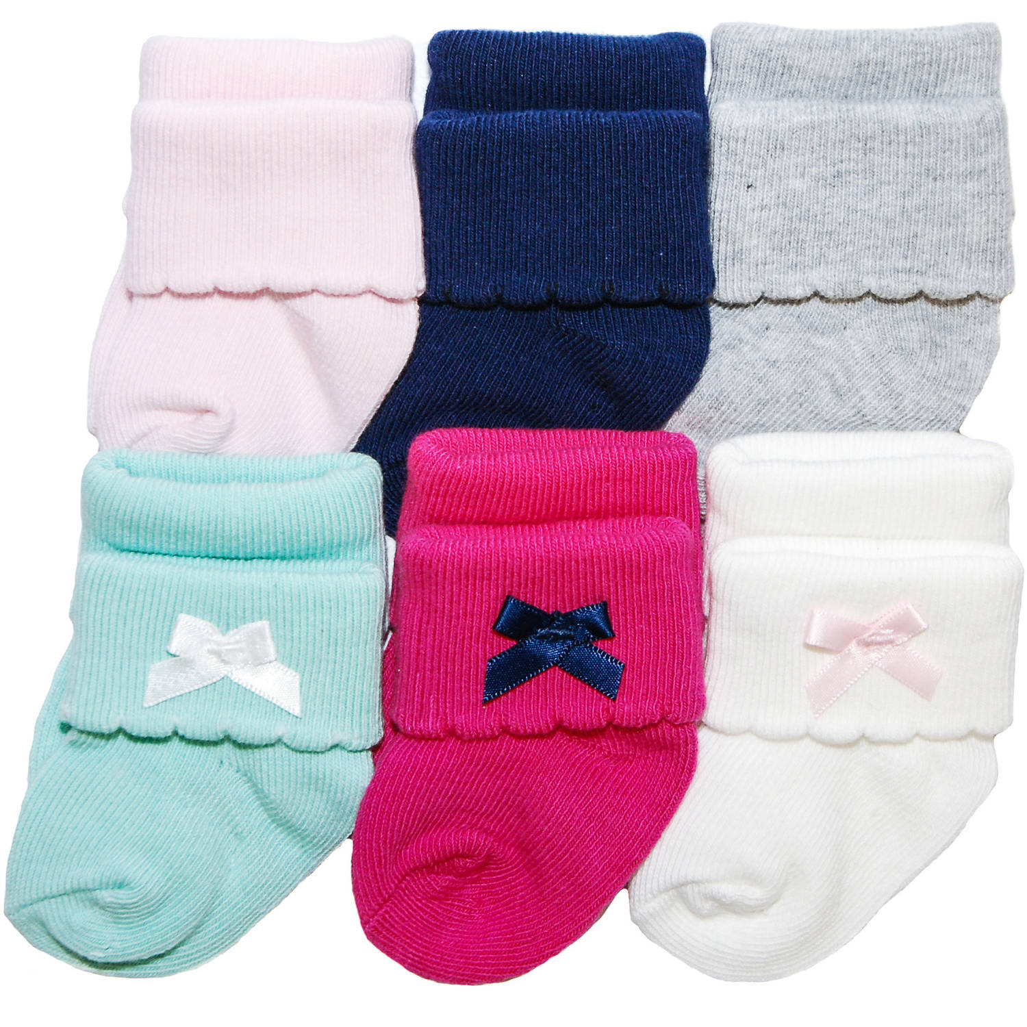 Child of Mine by Carter's Newborn Baby Girl Fancy Cuff 0-3M, 6-Pack