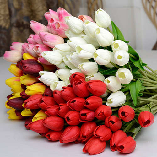 Moderna Pretty Latex Real Touch Artificial Silk Tulip Flower Wedding Bouquet Home Décor