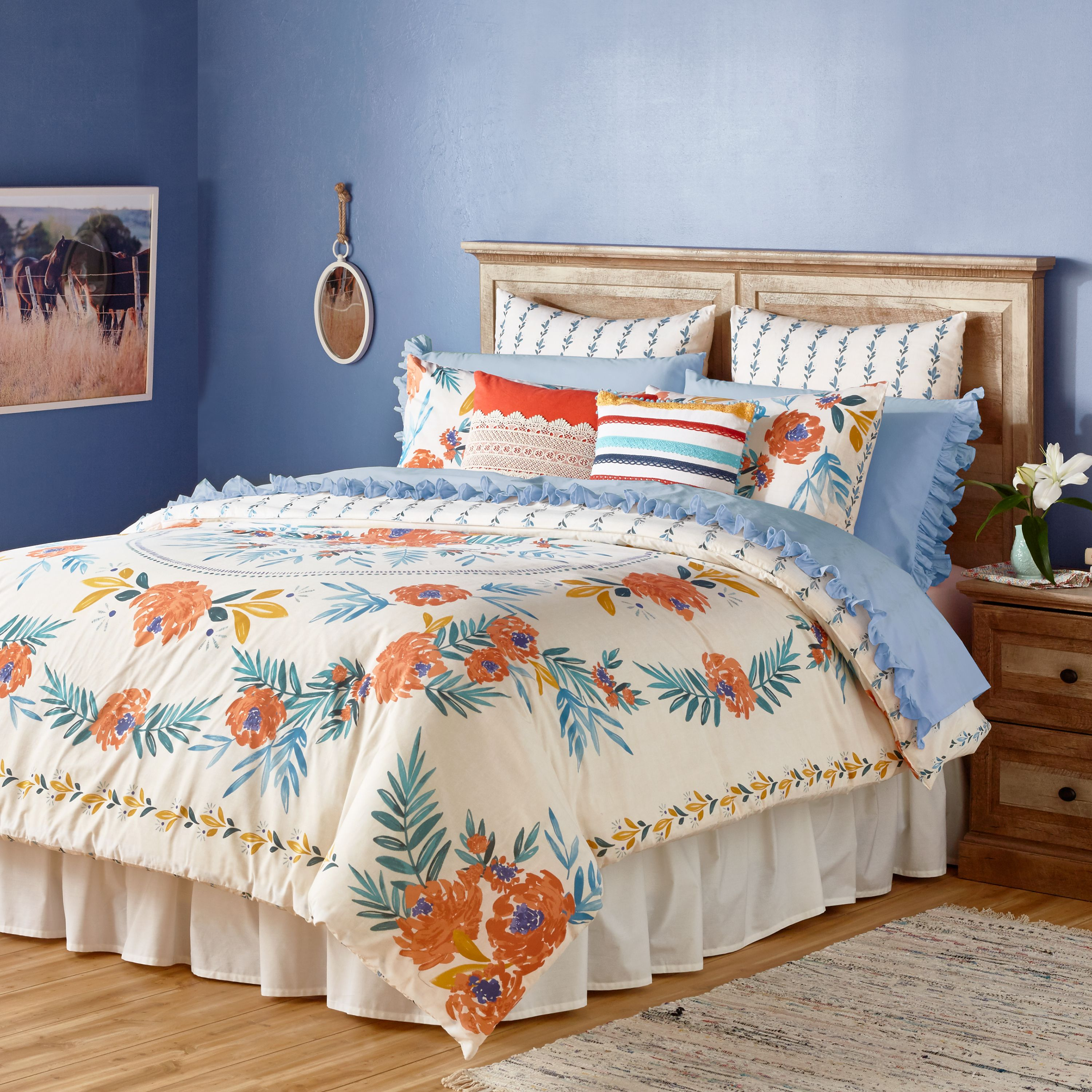 The Pioneer Woman Floral Medallion Duvet Cover, Ivory - Walmart com