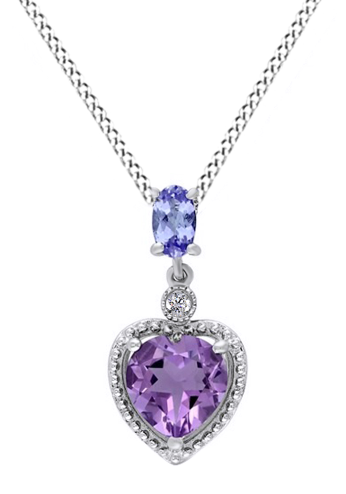 Simulated Amethyst and Simulated Tanzanite Cubic Zirconia with Diamond Heart Pendant Necklace Necklace in 14k White Gold... by Jewel Zone US