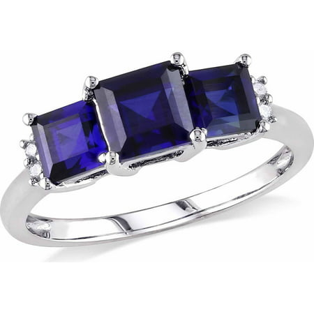 2-1/5 Carat T.G.W. Princess-Cut Created Blue Sapphire and Diamond-Accent 10kt White Gold Three-Stone Engagement Ring