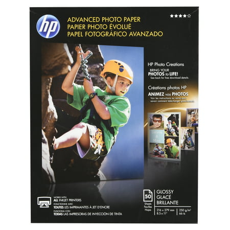 - HP, HEWQ7853A, Advanced Glossy Photo Paper, 50 / Pack, White