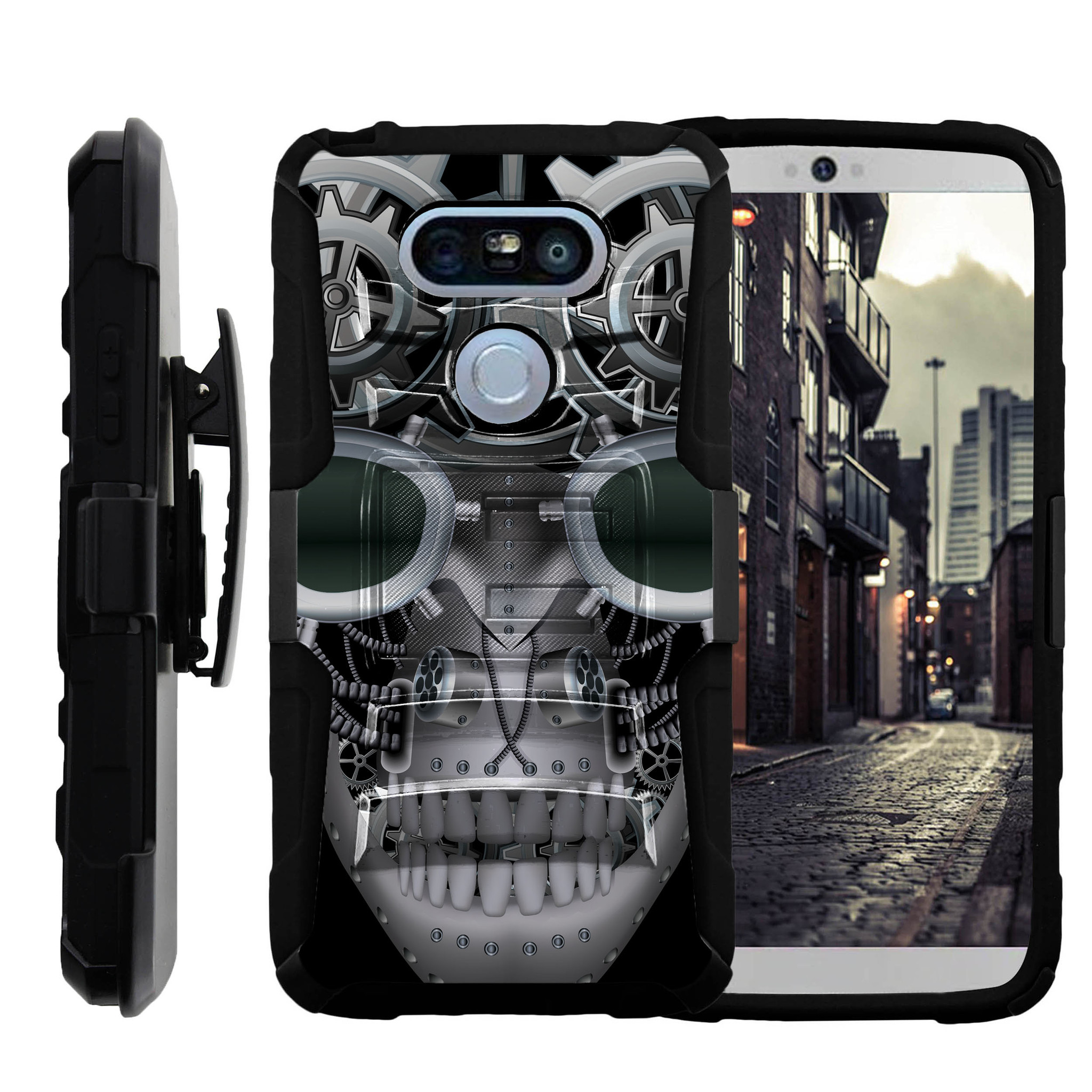 LG G5 H850 Miniturtle® Clip Armor Dual Layer Case Rugged Exterior with Built in Kickstand + Holster - Mechanical Skull