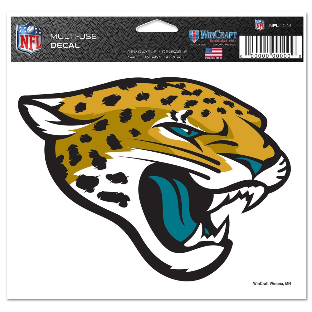Jacksonville Jaguars Official NFL 4 inch x 6 inch Car Window Cling Decal by Wincraft