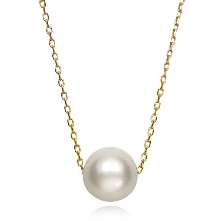 14k Yellow Gold Single Floating White Cultured Freshwater Pearl Chain Necklace, 18""