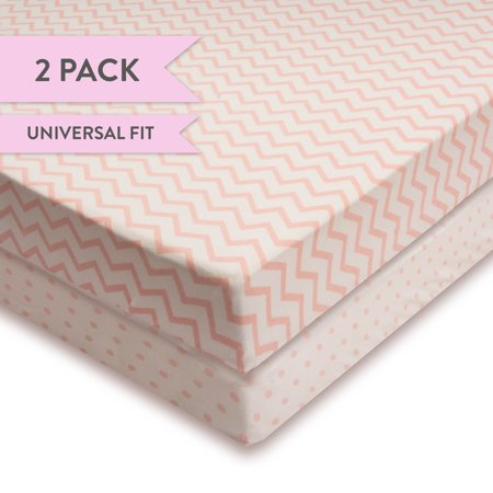 Crib Sheet Set 100% Jersey Cotton 2 Pack - Pink Chevron and Polka Dots Copy for $<!---->