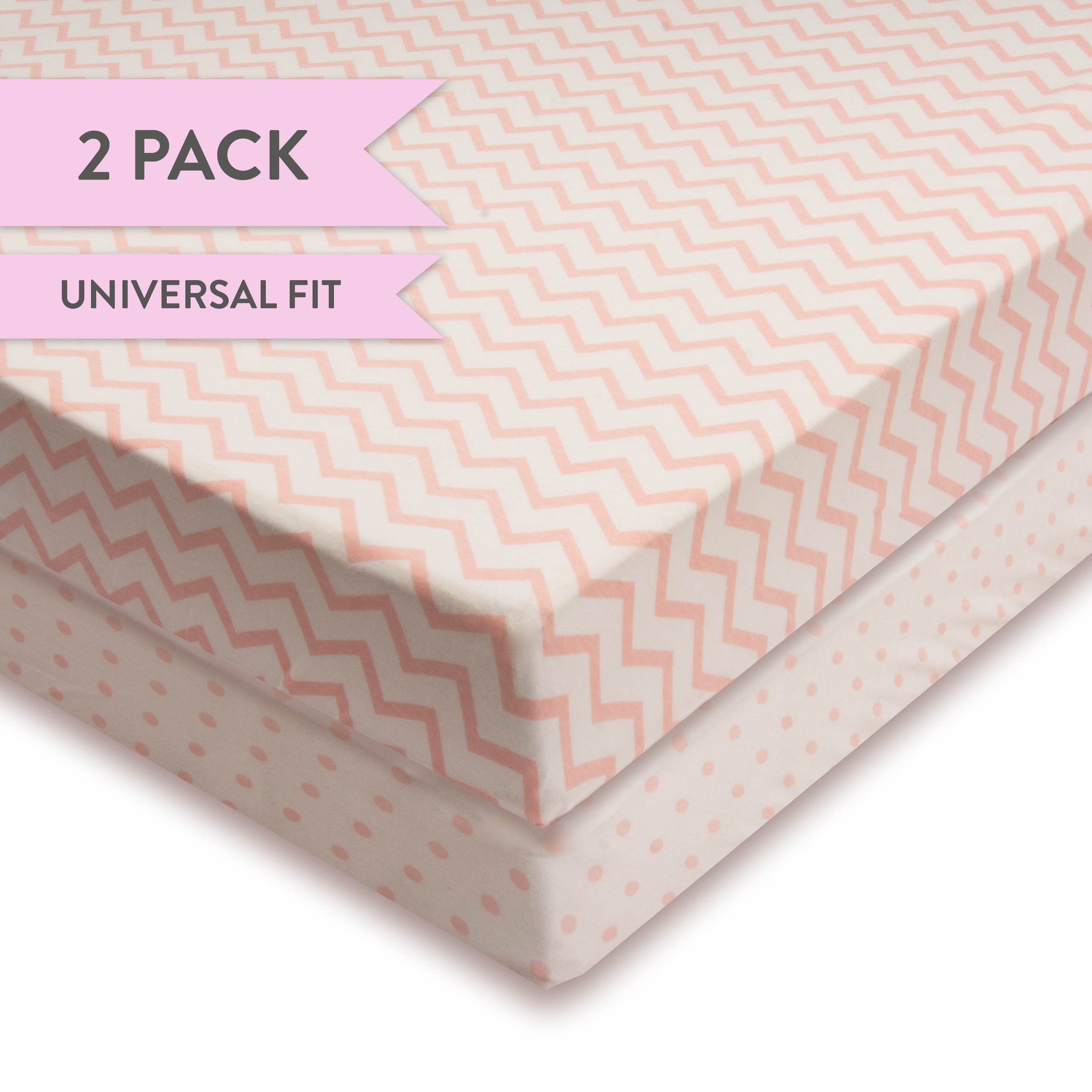 Crib Sheet Set 100% Jersey Cotton 2 Pack - Pink Chevron and Polka Dots Copy