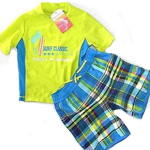 7 Tommy Bahama Boys Rashguard and Trunks Swimsuit Set Light Blue//Plaid