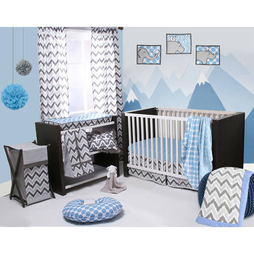 Bacati - Ikat Zebra/Dots/Damask 4-Piece Crib Bedding Set with 2 Muslin Swadling Blankets, Blue/Grey