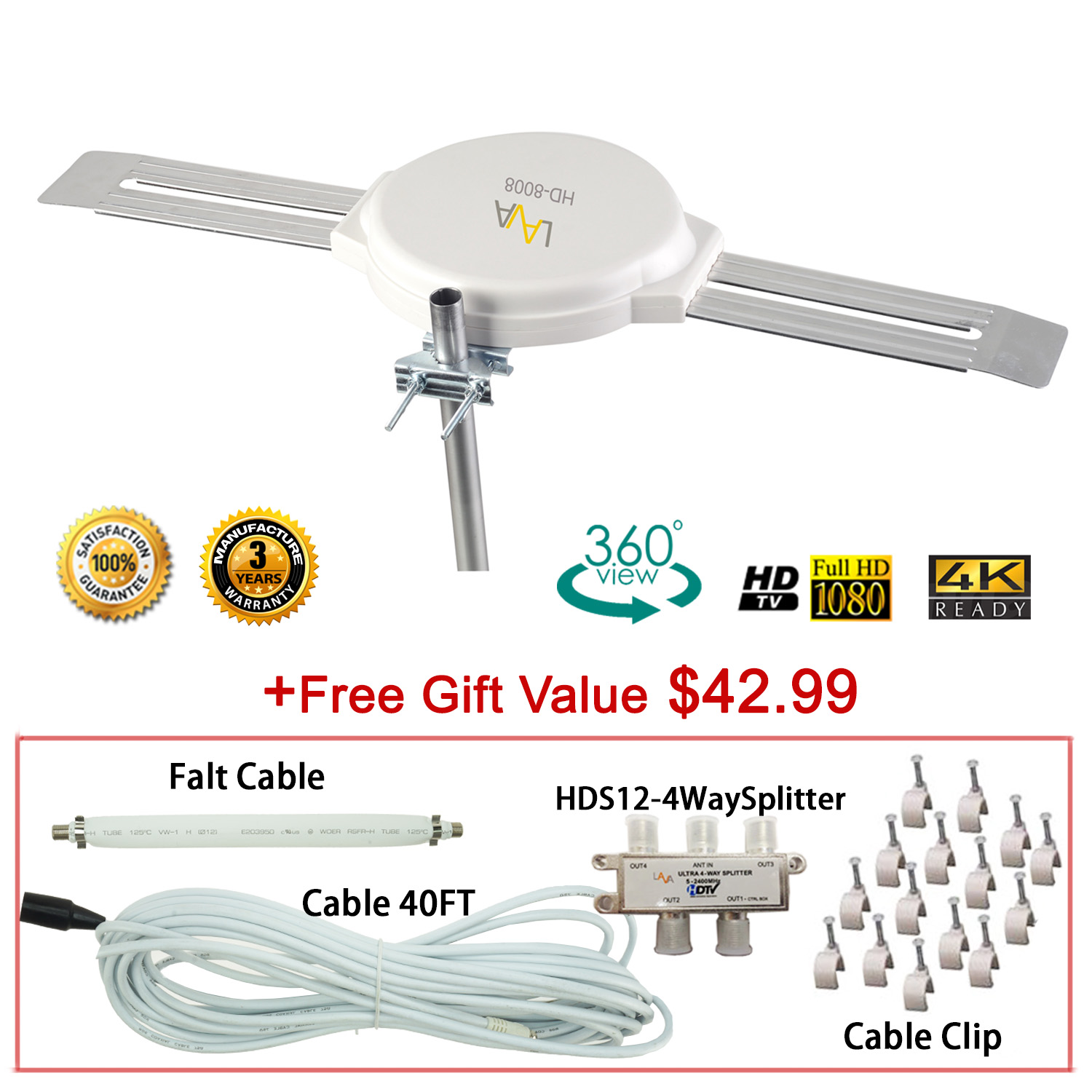 [FREE Installation Kit] 4K Omnidirectional LAVA TV Antenna OmniPro HD-8008