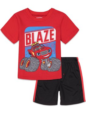 Nickelodeon Blaze and The Monster Machines Toddler Boys T-Shirt and Mesh Shorts Set 2T Red/Black